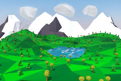 Lågt poly landskap med berg, sjön, träd och svanar illustration 3d Arkivfoto