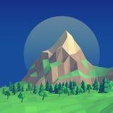 Lågt poly nattsommarlandskap 3d Arkivbild