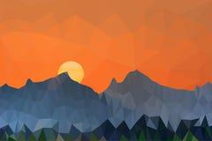 Lågt poly vektorillustrationsolnedgång och berglandskap vektor illustrationer