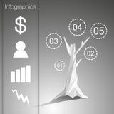 Lågt polygonal infographicsträd med olika symboler Stock Illustrationer