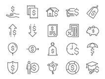 Lån och intressesymbolsuppsättning Inklusive symbolerna, som avgifter, personlig inkomst, hus intecknar lånet, biluthyrning, intr stock illustrationer