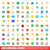 100 låna symboler ställde in, tecknad filmstil Arkivfoton