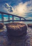Lång bro i det Kambodja havet Arkivbild