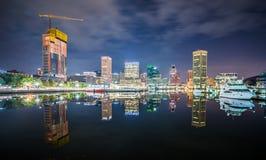 Lång exponering av den färgrika Baltimore horisonten fotografering för bildbyråer