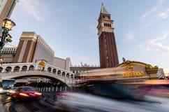 Lång exponering av den Venetian Las Vegas royaltyfri fotografi