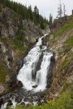 Lång exponering av mystikernedgångvattenfallet i yellowstone arkivfoton