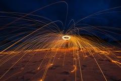 Lång exponering av stålull Arkivfoton