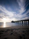Lång exponering för Manhattan Beach solnedgång Arkivbild