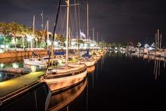 Lång exponering för natt på fartyggården Arkivfoto