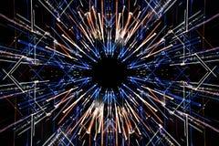 Lång exponering, mångfärgade geometriska rörelselinjer av ljus Royaltyfri Bild