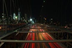 Lång exponering på den Brooklyn bron royaltyfri fotografi