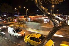 Lång exponering på natten, Istanbul, Kabatas Arkivbild