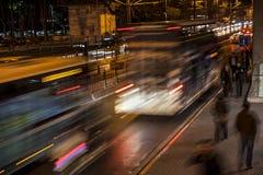 Lång exponering på natten, Istanbul, Kabatas Royaltyfria Bilder