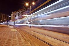 Lång exponering på natten, Istanbul, Karakoy Royaltyfri Foto