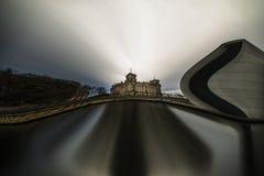 Lång exponeringsflodfest i Berlin Arkivbild