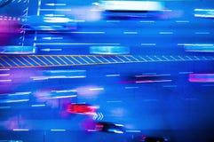 Lång exponeringsSeoul trafik, Seoul gata, Sydkorea Royaltyfri Foto