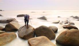 Lång exponeringssolnedgångSeascape Royaltyfri Fotografi