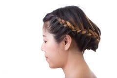 Lång flätad trådstil för hår som isoleras på vit bakgrund Fotografering för Bildbyråer