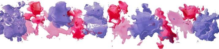Lång gräns av fläckar för pappers- färg för gouachevattenfärg hand drog Royaltyfri Bild