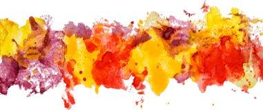 Lång gräns av fläckar för pappers- färg för gouachevattenfärg hand drog Fotografering för Bildbyråer