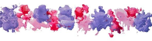 Lång gräns av fläckar för pappers- färg för gouachevattenfärg hand drog Royaltyfri Foto