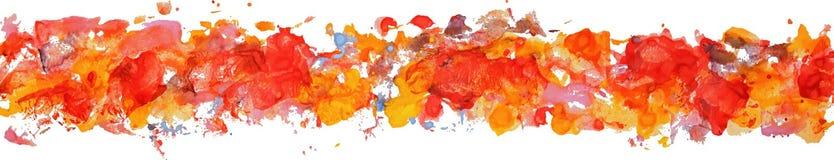 Lång gräns av fläckar för pappers- färg för gouachevattenfärg hand drog Arkivbild