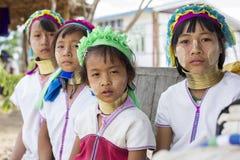 Lång-hals barn, Myanmar Arkivfoton