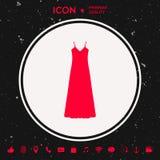 Lång klänning-, aftonklänning, kombination eller nattlinne, konturn Menyobjekt i rengöringsdukdesignen Royaltyfri Fotografi