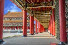 Lång korridor av en Konfucius tempel Fotografering för Bildbyråer