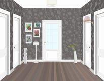Lång korridor med rader av stängda dörrar Begrepp av oändliga tillfällen för framgång och svårighet av valet 3d Royaltyfri Bild