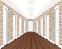 Lång korridor med rader av stängda dörrar Begrepp av oändliga tillfällen för framgång och svårighet av valet 3d Royaltyfri Fotografi