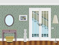 Lång korridor med rader av stängda dörrar Begrepp av oändliga tillfällen för framgång och svårighet av valet framförande 3d korri Arkivfoton