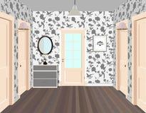 Lång korridor med rader av stängda dörrar Begrepp av oändliga tillfällen för framgång och svårighet av valet hall Arkivfoton