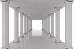 Lång korridortunnel mellan klassiska kolonner framförande 3d Arkivbild