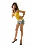 lång kvinna för ben Arkivbild