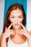 lång kvinna för brunetthår Arkivfoto