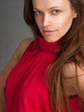 lång kvinna för härligt brunt hår Royaltyfri Bild