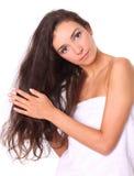 lång kvinna för härligt hår Arkivfoto