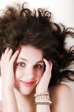 lång kvinna för härligt hår Arkivbild
