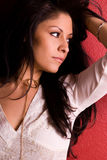 lång kvinna för ursnyggt hår Fotografering för Bildbyråer