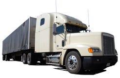 lång lastbilwhite för transportsträcka Royaltyfria Bilder