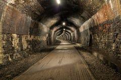 Lång mörk tunnel Royaltyfri Bild