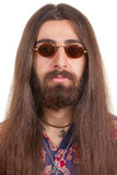 lång man för haired hippie Arkivfoto