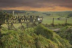 lång man för vandringsled till wilmington Arkivbild