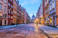Lång marknad i Gdansk, sikt från momenten av stadshuset, Polen royaltyfri bild