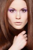lång model rak wellness för härligt hår Royaltyfria Bilder