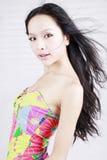 lång modell för asiatiskt hår Arkivfoton