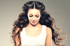 lång modell för hår Vågkrullningsfrisyr Skönhetkvinna med långt sunt och skinande slätt svart hår Updo f royaltyfri foto