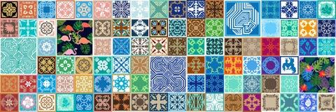 Lång mosaikgräns stock illustrationer