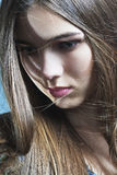 lång perfekt hud för härligt flickahår Royaltyfria Foton